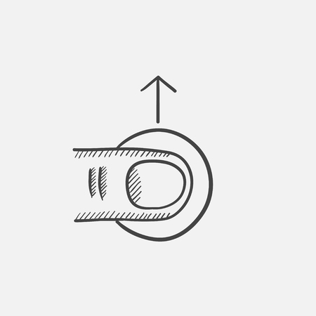 drag: Drag up sketch icon for web, mobile and infographics. Hand drawn vector isolated icon.