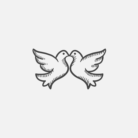 Wedding doves sketch icon for web, mobile and infographics. Hand drawn vector isolated icon.