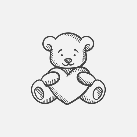 Teddy bear with heart sketch icon for web, mobile and infographics. Hand drawn vector isolated icon. Illusztráció