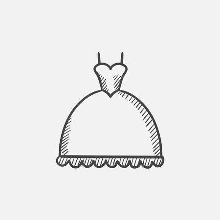 Wedding dress sketch icon for web, mobile and infographics. Hand drawn vector isolated icon.