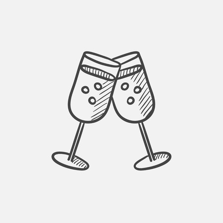 Two glasses with champaign sketch icon for web, mobile and infographics. Hand drawn vector isolated icon.