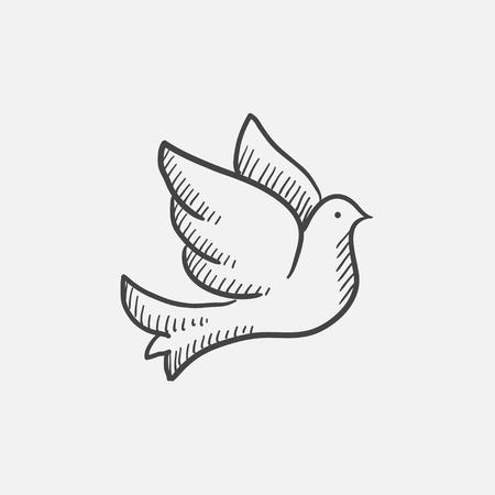 event icon: Wedding dove sketch icon for web, mobile and infographics. Hand drawn vector isolated icon.