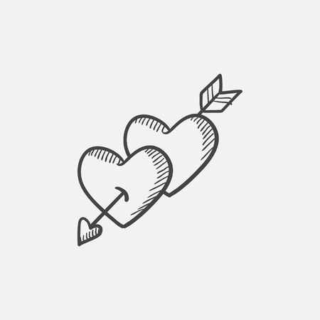 pierced: Two hearts pierced with arrow sketch icon for web, mobile and infographics. Hand drawn vector isolated icon. Illustration