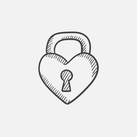 heart sketch: Lock shaped heart sketch icon for web, mobile and infographics. Hand drawn vector isolated icon. Illustration