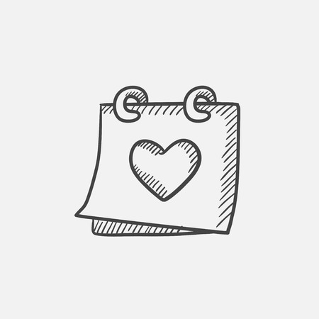 mention: Calendar with heart sketch icon for web, mobile and infographics. Hand drawn vector isolated icon. Illustration