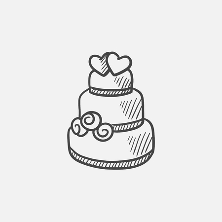tier: Wedding cake sketch icon for web, mobile and infographics. Hand drawn vector isolated icon.