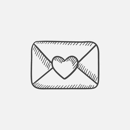 heart sketch: Envelope with heart sketch icon for web, mobile and infographics. Hand drawn vector isolated icon.