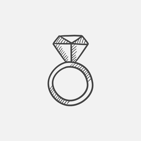 Verlovingsring met diamant schets pictogram voor web, mobiel en infographics. geïsoleerde hand getrokken vector pictogram.