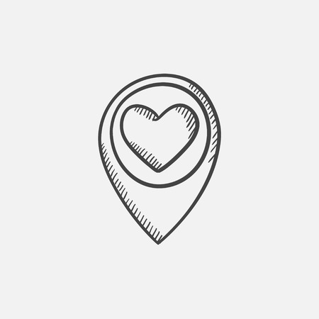 Map pointer with heart sketch icon for web, mobile and infographics. Hand drawn vector isolated icon.