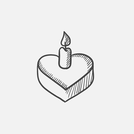 wedding reception decoration: Heart-shaped cake with candle sketch icon for web, mobile and infographics. Hand drawn vector isolated icon.