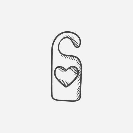 hangers: Door tag with heart sketch icon for web, mobile and infographics. Hand drawn vector isolated icon.