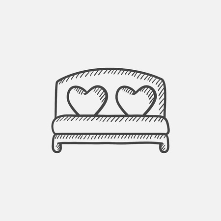 marriage bed: Heart shaped pillows on bed sketch icon for web, mobile and infographics. Hand drawn vector isolated icon. Illustration