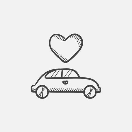 Wedding car with heart sketch icon for web, mobile and infographics. Hand drawn vector isolated icon. Ilustração