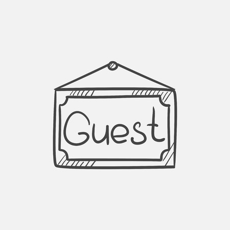guest: Hanging board with word guest sketch icon for web, mobile and infographics. Hand drawn vector isolated icon.