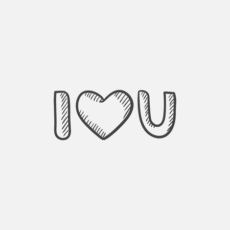 i love u: Abbreviation i love you sketch icon for web, mobile and infographics. Hand drawn vector isolated icon.