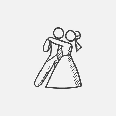 First wedding dance sketch icon for web, mobile and infographics. Hand drawn vector isolated icon. 矢量图片