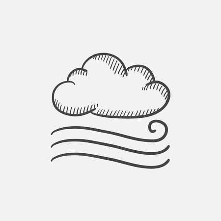 breezy: Windy cloud sketch icon set for web, mobile and infographics. Hand drawn vector isolated icon.