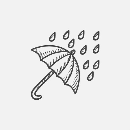 torrential rain: Rain and umbrella sketch icon set for web, mobile and infographics. Hand drawn vector isolated icon. Illustration