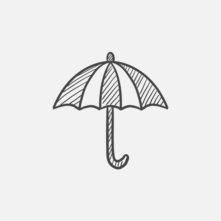 outdoor glamour: Umbrella sketch icon set for web, mobile and infographics. Hand drawn vector isolated icon.
