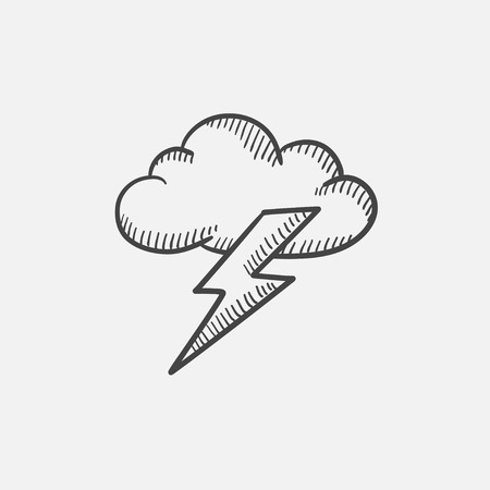 Cloud and lightning bolt sketch icon set for web, mobile and infographics. Hand drawn vector isolated icon. Çizim