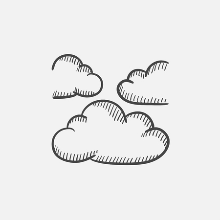 stormcloud: Clouds sketch icon set for web, mobile and infographics. Hand drawn vector isolated icon. Illustration
