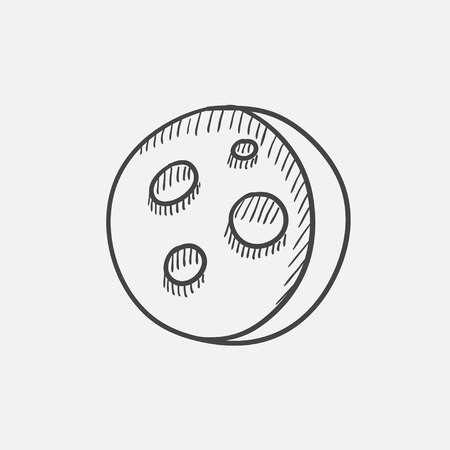 hole in one: Moon surface with cheese holes sketch icon set for web, mobile and infographics. Hand drawn vector isolated icon. Illustration