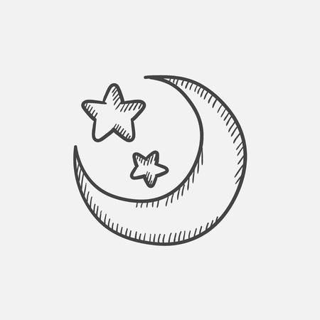 nightly: Moon and stars sketch icon set for web, mobile and infographics. Hand drawn vector isolated icon. Illustration