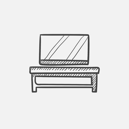 flat screen tv: Flat screen tv on modern tv stand sketch icon for web, mobile and infographics. Hand drawn vector isolated icon. Illustration