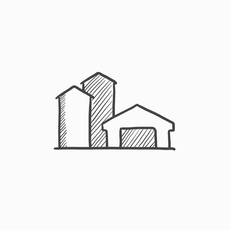 granary: Farm buildings sketch icon for web, mobile and infographics. Hand drawn farm buildings icon. Farm buildings vector icon. Farm buildings icon isolated on white background. Illustration
