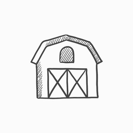 Edificios de la granja dibujo icono para web, móvil y la infografía. Dibujado a mano icono de edificios de la granja. edificios de la granja icono del vector. edificios de la granja icono aislado en el fondo blanco. Foto de archivo - 61000424