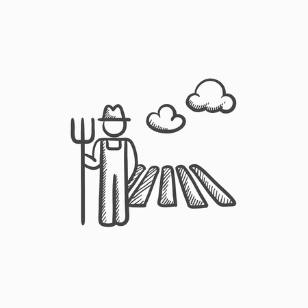 countryman: Farmer with pitchfork at field sketch icon for web, mobile and infographics. Hand drawn farmer icon. Farmer vector icon. Farmer icon isolated on white background.