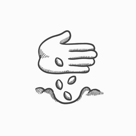 手を地面ベクター スケッチ アイコンの背景に分離の種を植えます。手描きの手グランド アイコンの種を植えます。手植え種地盤では、インフォ グ