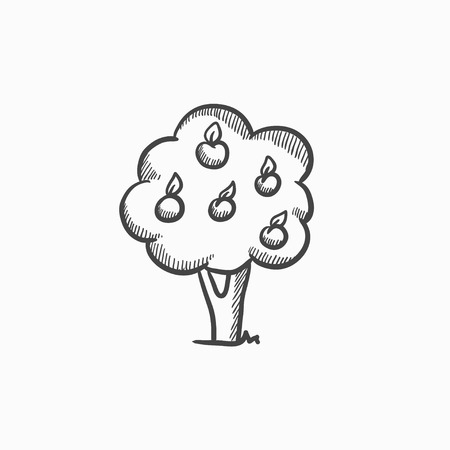 horticultural: Fruit tree vector sketch icon isolated on background. Hand drawn Fruit tree icon. Fruit tree sketch icon for infographic, website or app. Illustration