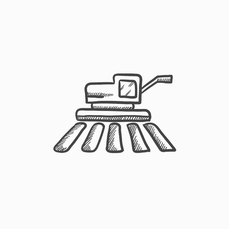 harvester: Combine harvester vector sketch icon isolated on background. Hand drawn Combine harvester icon. Combine harvester sketch icon for infographic, website or app. Illustration