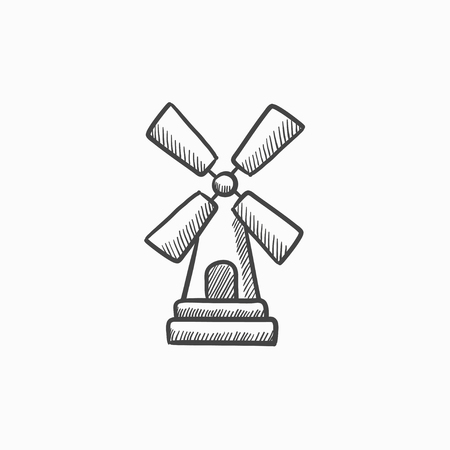 agro: Windmill  vector sketch icon isolated on background. Hand drawn Windmill  icon. Windmill  sketch icon for infographic, website or app.