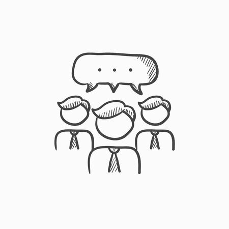 contacts group: People with speech square above their heads vector sketch icon isolated on background. Hand drawn People with speech square icon. People with speech square sketch icon for infographic, website or app.