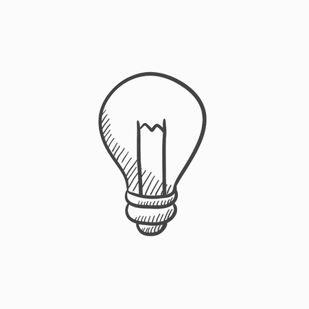 Lightbulb vector sketch icon isolated on background. Hand drawn Lightbulb icon. Lightbulb sketch icon for infographic, website or app.