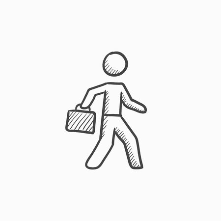 educated: Businessman walking with briefcase vector sketch icon isolated on background. Hand drawn Businessman with briefcase icon. Businessman with briefcase sketch icon for infographic, website or app.