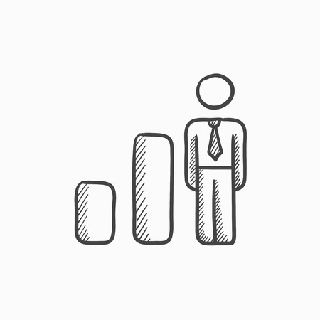 Businessman and graph vector sketch icon isolated on background. Hand drawn Businessman and graph icon. Businessman and graph sketch icon for infographic, website or app. 矢量图像