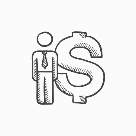 fullbody: Businessman stands near dollar symbol vector sketch icon isolated on background. Hand drawn Businessman near dollar symbol icon. Businessman near dollar sketch icon for infographic, website or app.