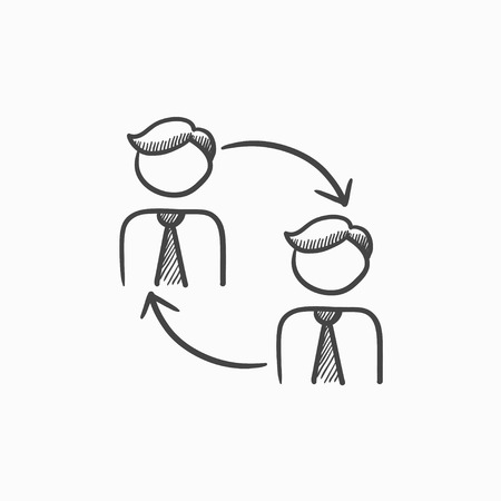 substitute: Staff turnover vector sketch icon isolated on background. Hand drawn Staff turnover icon. Staff turnover sketch icon for infographic, website or app.