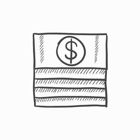 greenbacks: Stack of dollar bills vector sketch icon isolated on background. Hand drawn Stack of dollar bills icon. Stack of dollar bills sketch icon for infographic, website or app.
