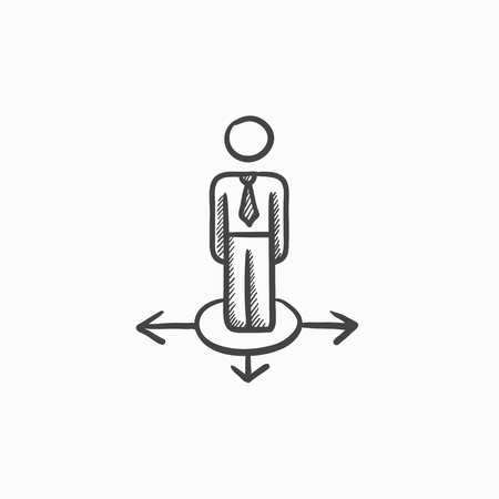 hesitate: Businessman in three ways vector sketch icon isolated on background. Hand drawn Businessman in three ways icon. Businessman in three ways sketch icon for infographic, website or app. Illustration