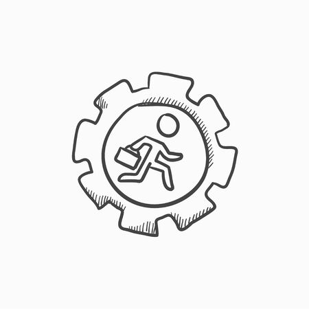 cog gear: Man running inside the gear  vector sketch icon isolated on background. Hand drawn Man running inside the gear  icon. Man running inside the gear  sketch icon for infographic, website or app. Illustration