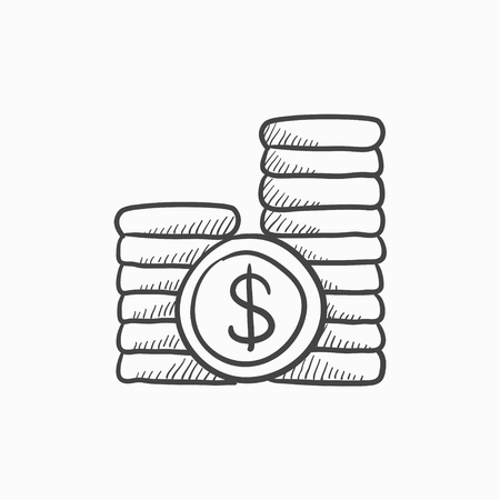 dime: Dollar coins vector sketch icon isolated on background. Hand drawn Dollar coins icon. Dollar coins sketch icon for infographic, website or app.