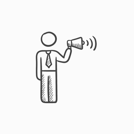 loudness: Businessman with megaphone vector sketch icon isolated on background. Hand drawn Businessman with megaphone icon. Businessman with megaphone sketch icon for infographic, website or app.