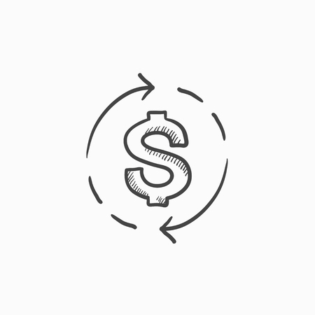 refresh rate: Dollar symbol with arrows vector sketch icon isolated on background. Hand drawn Dollar symbol with arrows icon. Dollar symbol with arrows sketch icon for infographic, website or app. Illustration