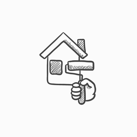 house painting: House painting vector sketch icon isolated on background. Hand drawn House painting icon. House painting sketch icon for infographic, website or app.