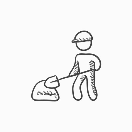 hand shovels: Man with shovel and hill of sand vector sketch icon isolated on background. Hand drawn Man with shovel and hill of sand icon. Man with shovel sketch icon for infographic, website or app.