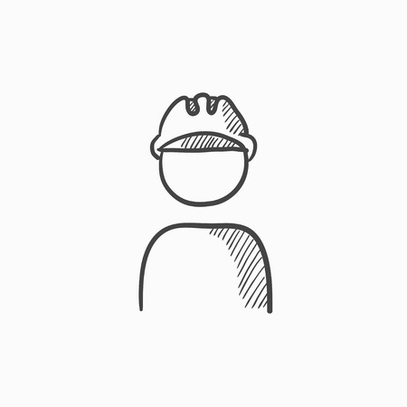 hard hat icon: Worker wearing hard hat vector sketch icon isolated on background. Hand drawn Worker wearing hard hat icon. Worker wearing hard hat sketch icon for infographic, website or app. Illustration